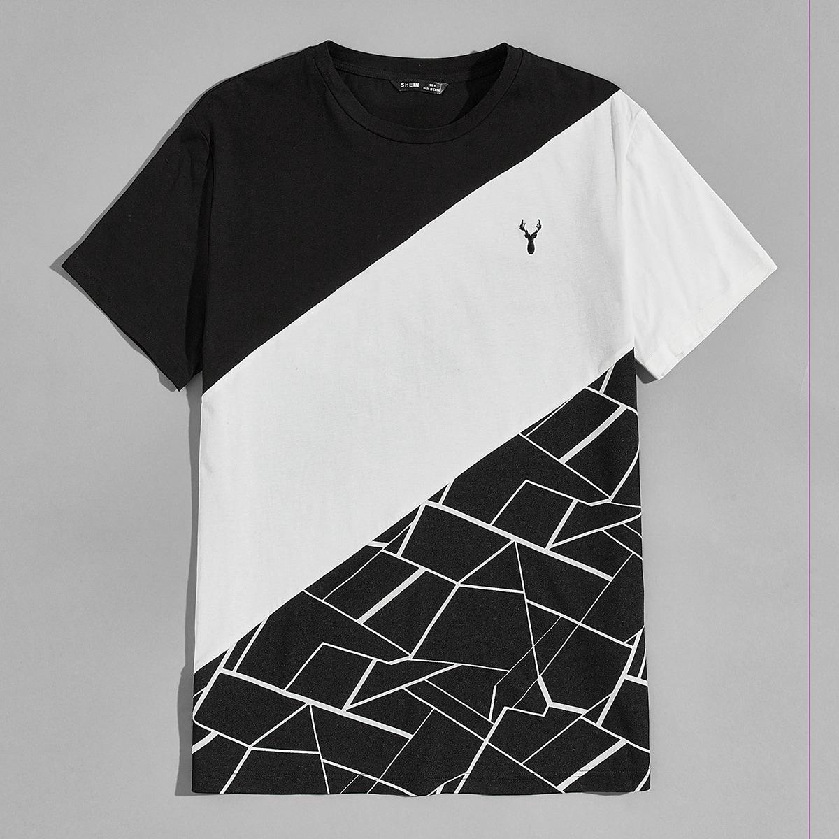 Мужская контрастная футболка с геометрическим принтом и вышивкой орла