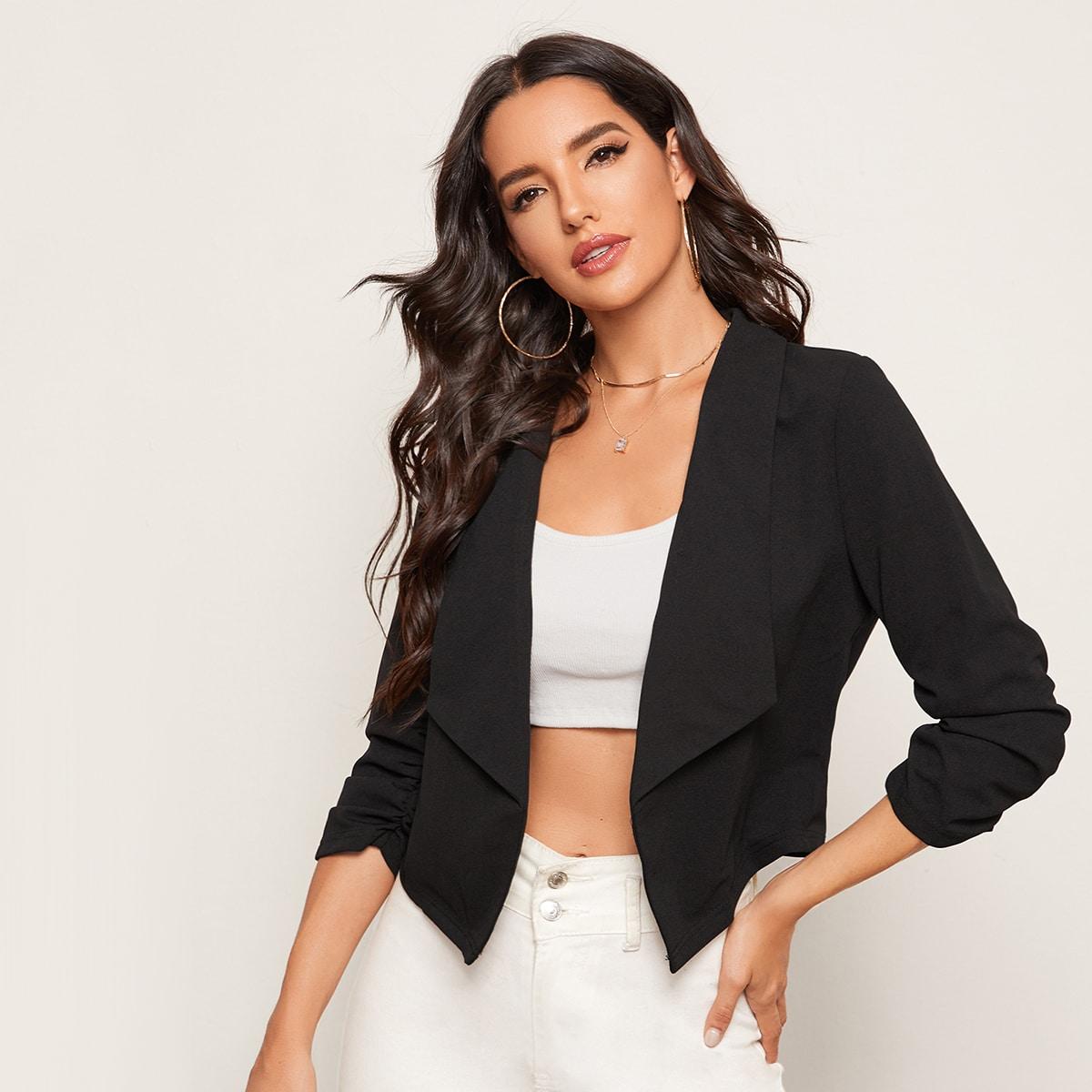 Однотонный пиджак с шалевым воротником