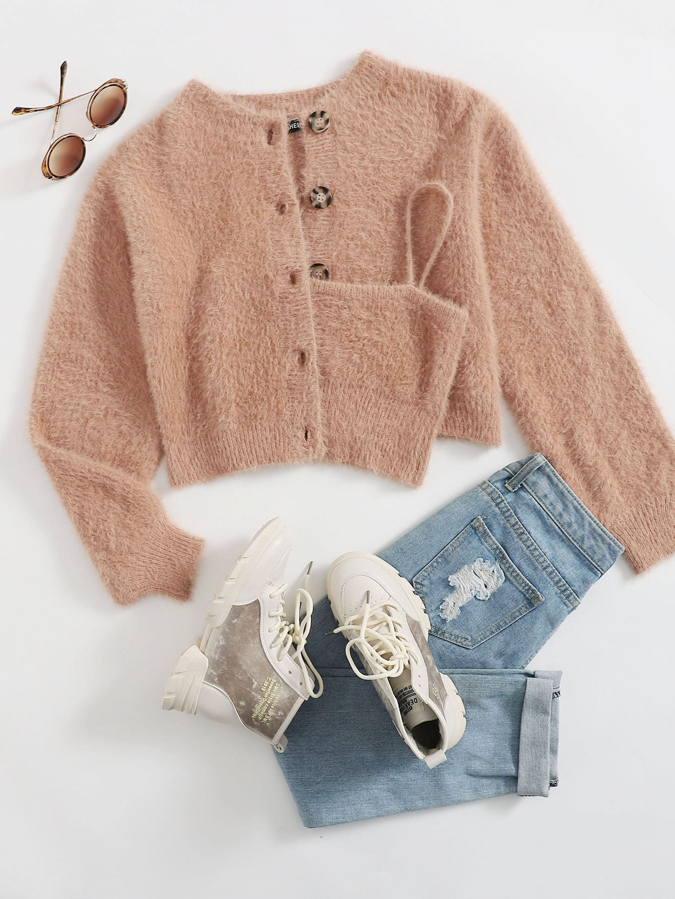 Button Front Fuzzy Knit Cardigan With Cami thumbnail