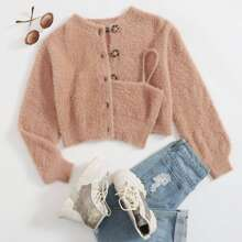 Button Front Fluffy Cardigan & Cami