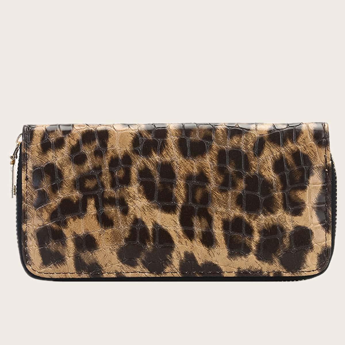 Длинный кошелек на молнии с леопардовым принтом