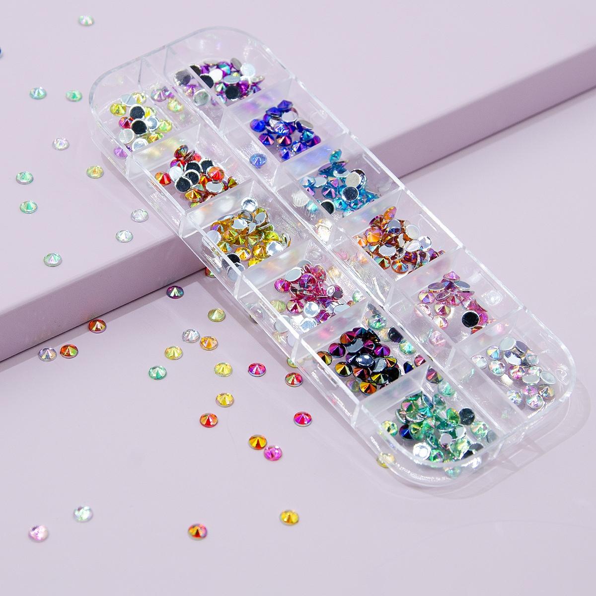 1 caja diamante de imitación de decoración de arte de uña