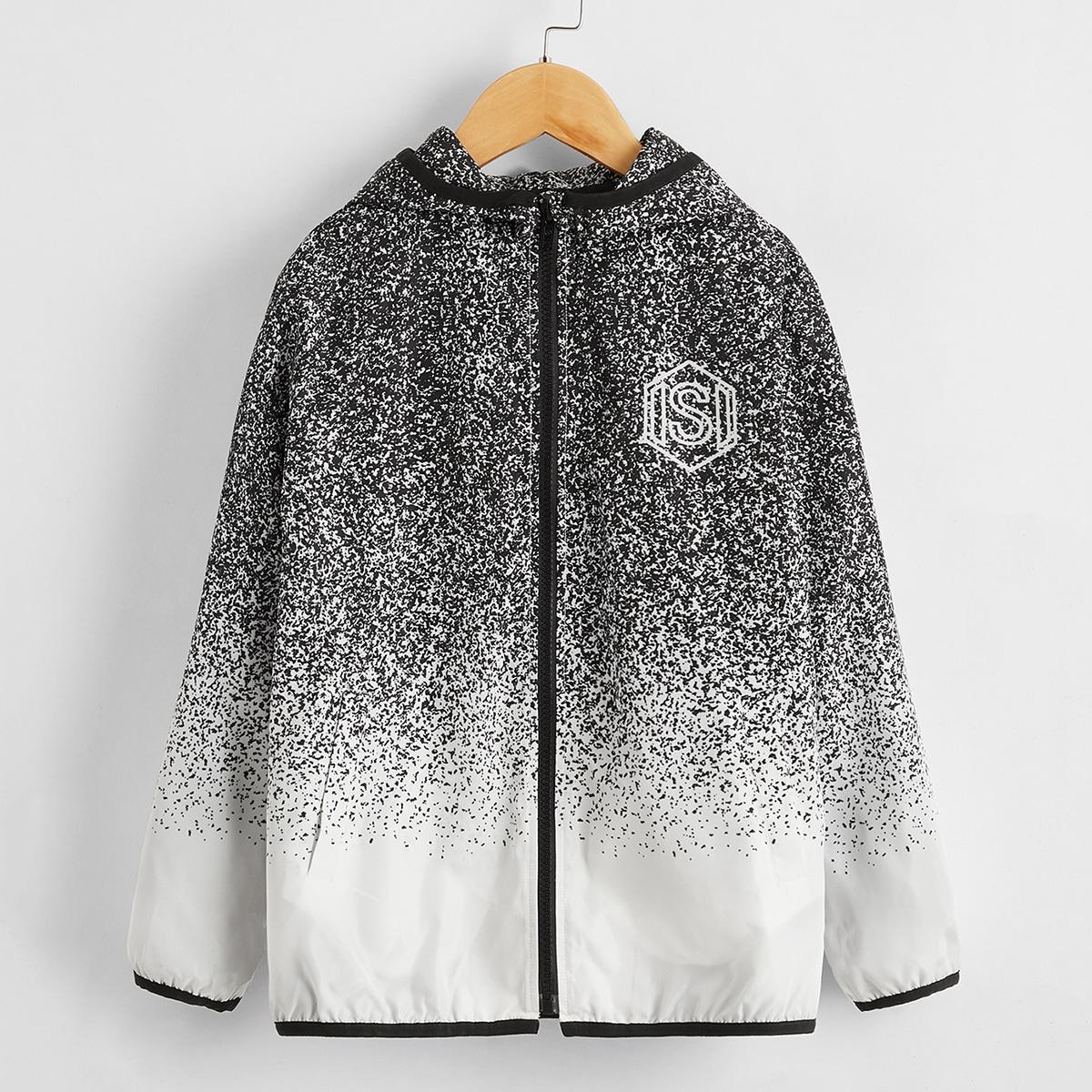 Куртка на молнии с текстовым принтом и контрастной отделкой для мальчиков