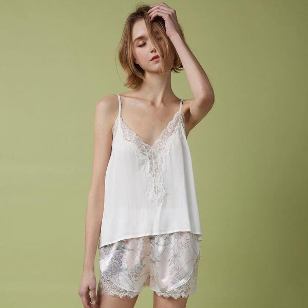 Lace Panel Cami Top & Floral Shorts Set, Multicolor