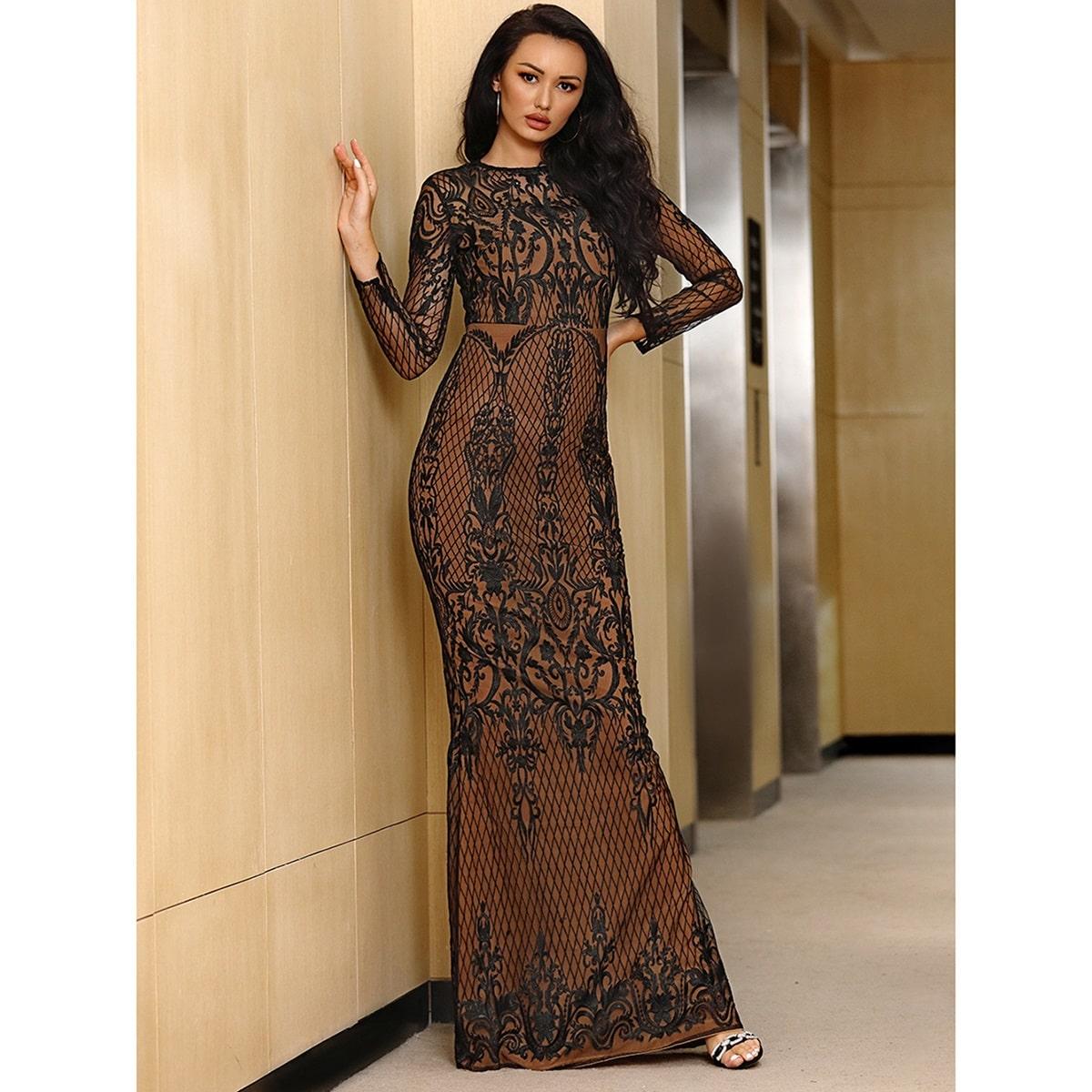 Кружевное платье-русалка с молнией сзади