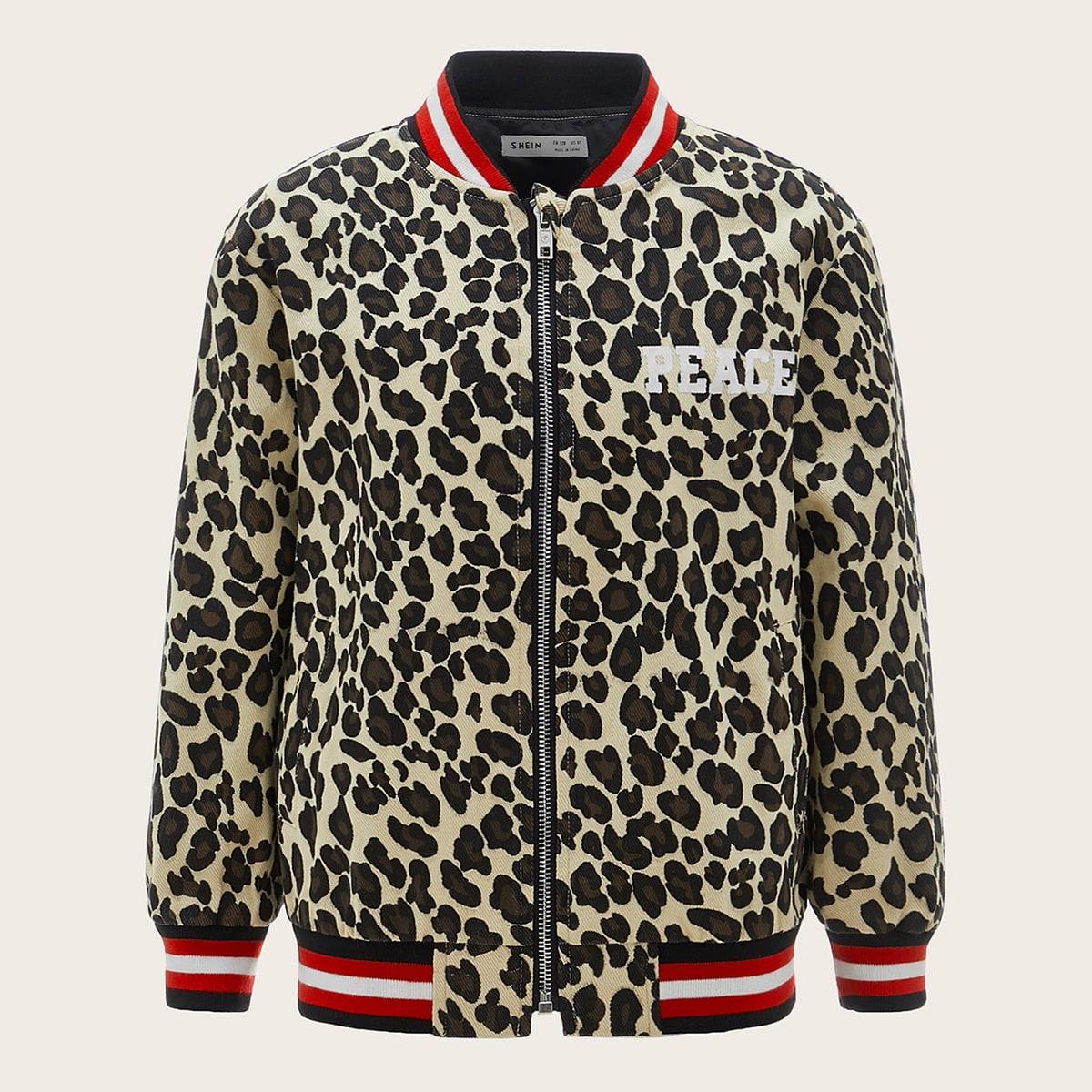 Куртка бомбер с леопардовым принтом для мальчиков