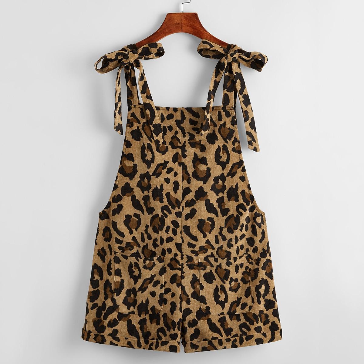 Вельветовые шорты с подтяжками, карманами и леопардовым принтом