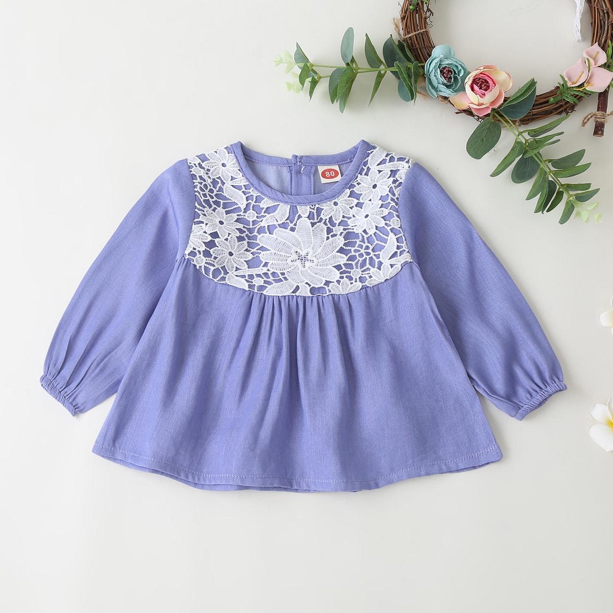 Джинсовое платье с кружевом для девочек от SHEIN