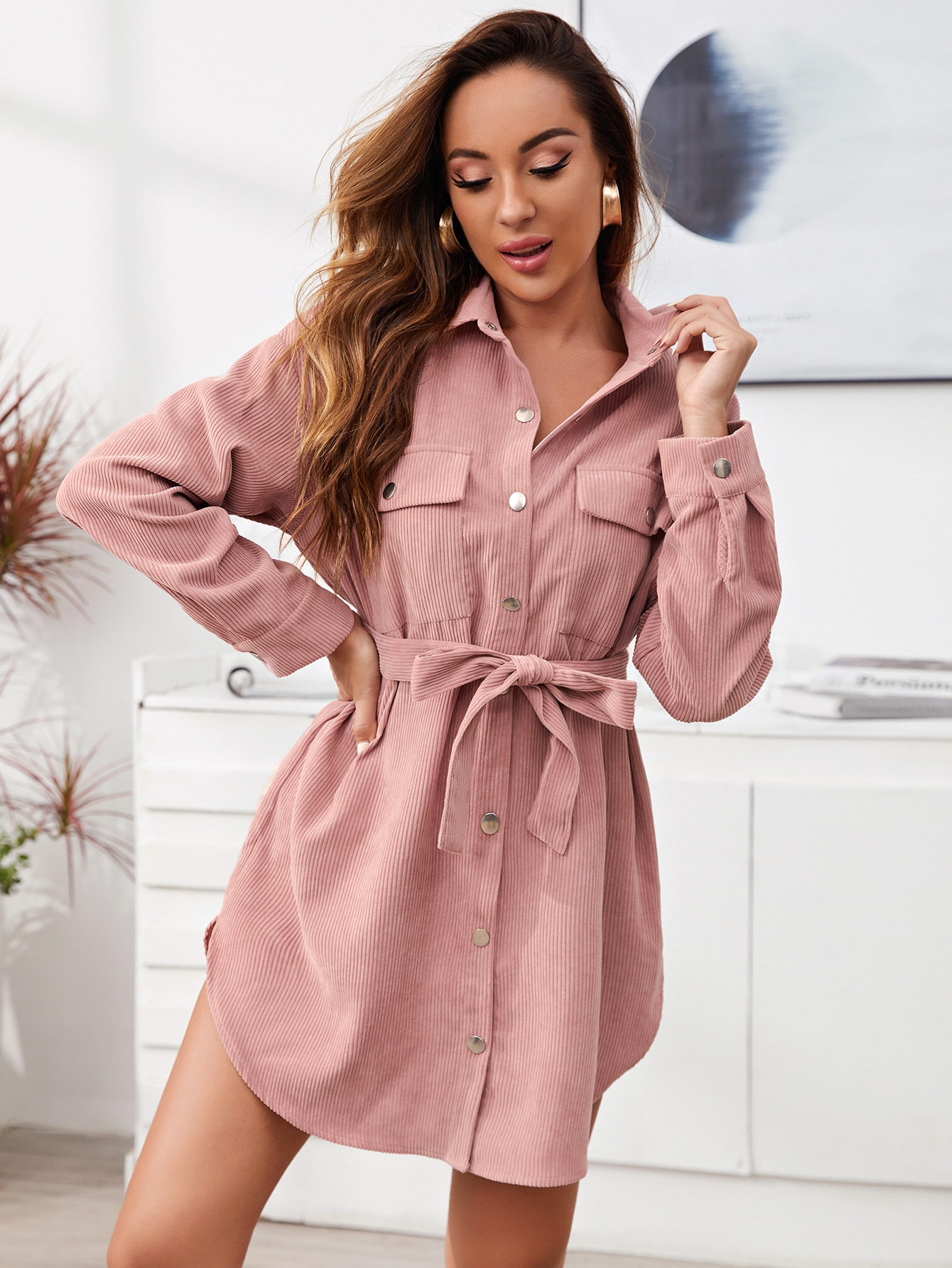 Single Breasted Flap Pocket Belted Cord Dress thumbnail