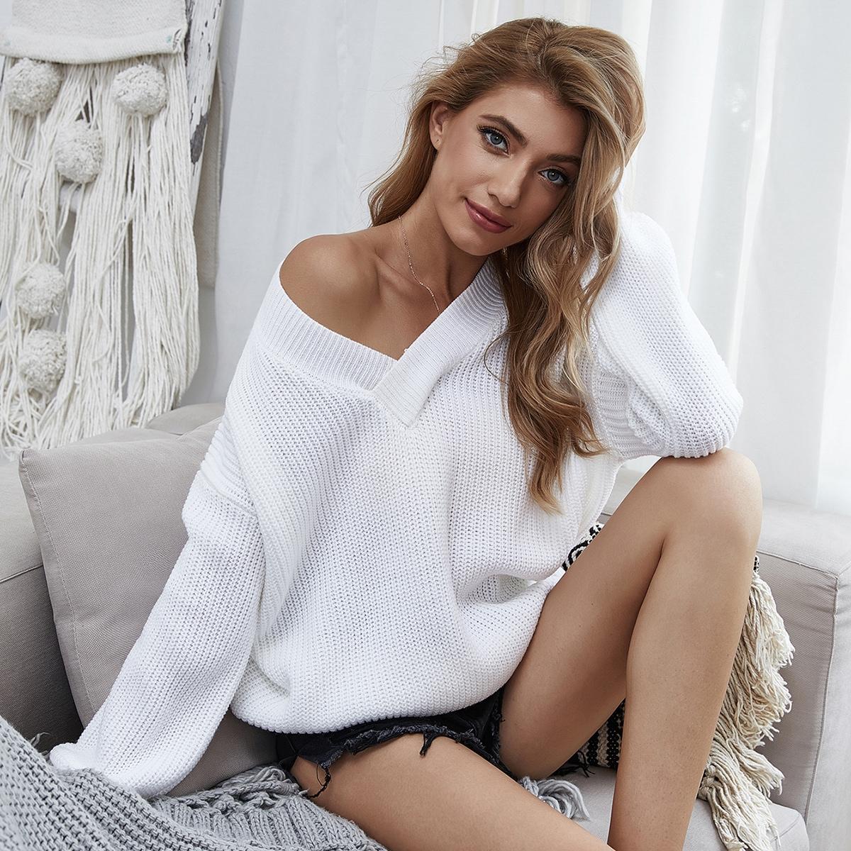 Однотонный свитер оверсайз
