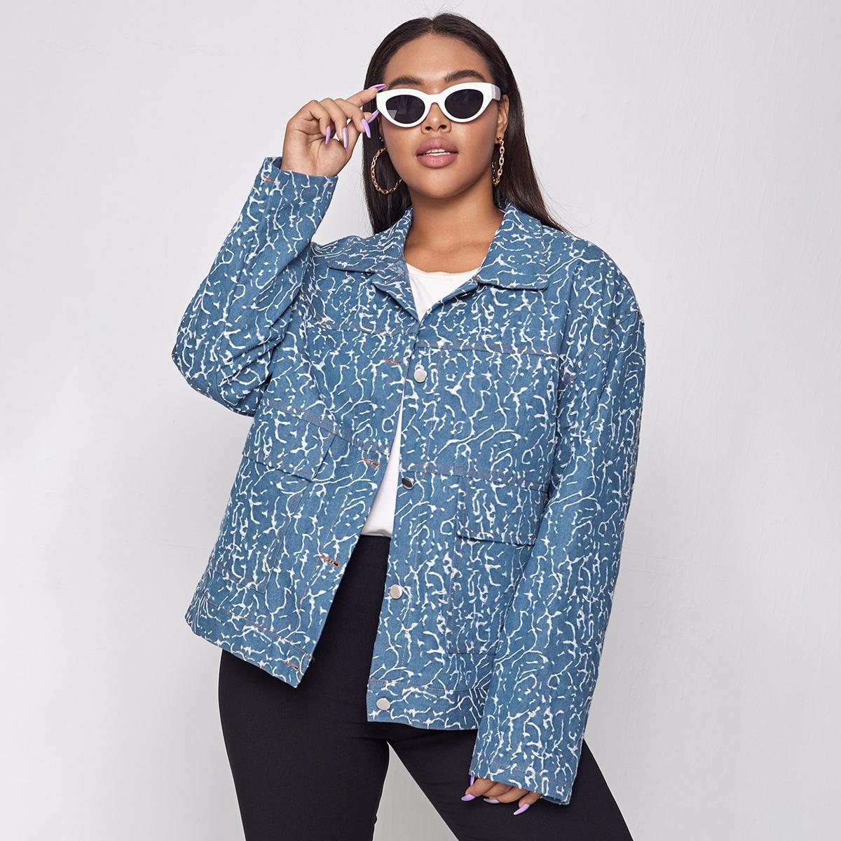 Джинсовая куртка размера плюс с принтом