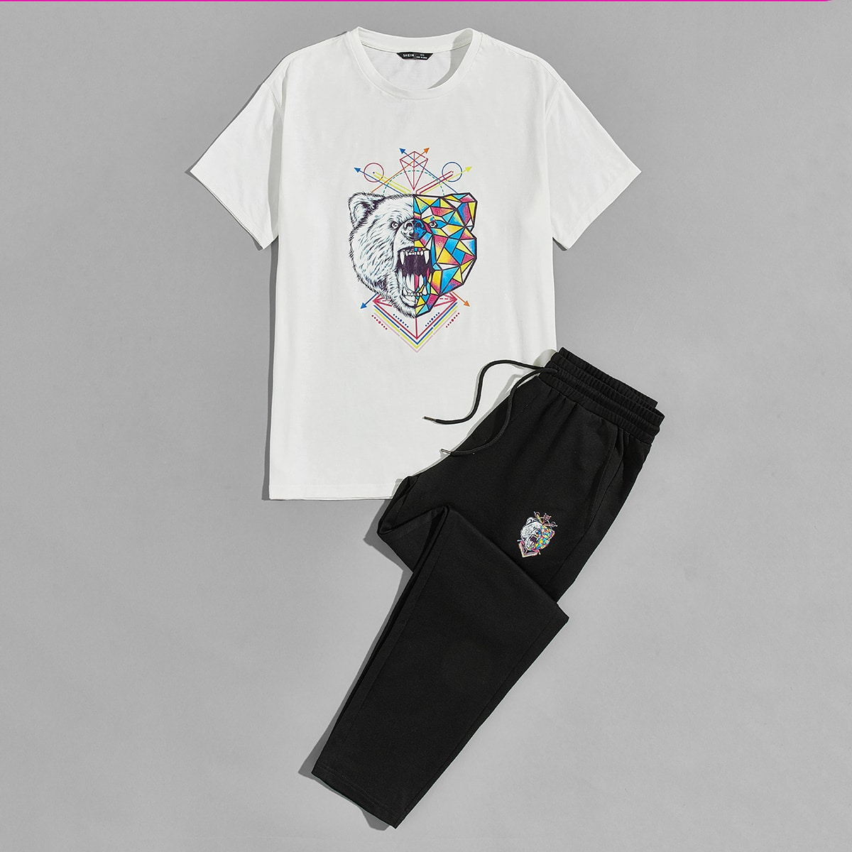Мужские брюки и топ с графическим принтом