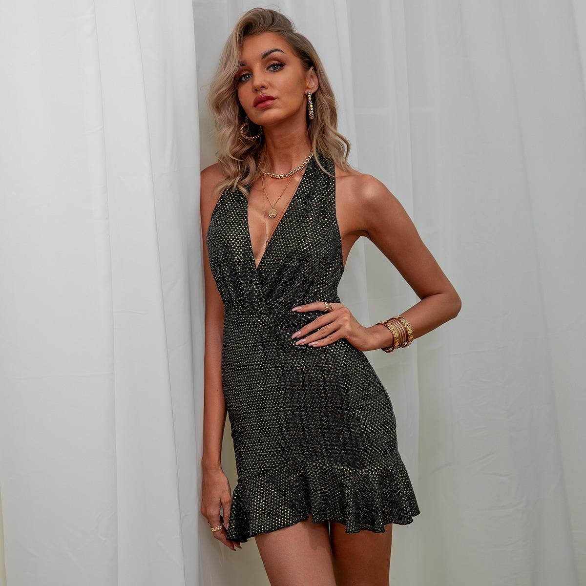 блестящее платье-халтер с оборкой и открытой спиной