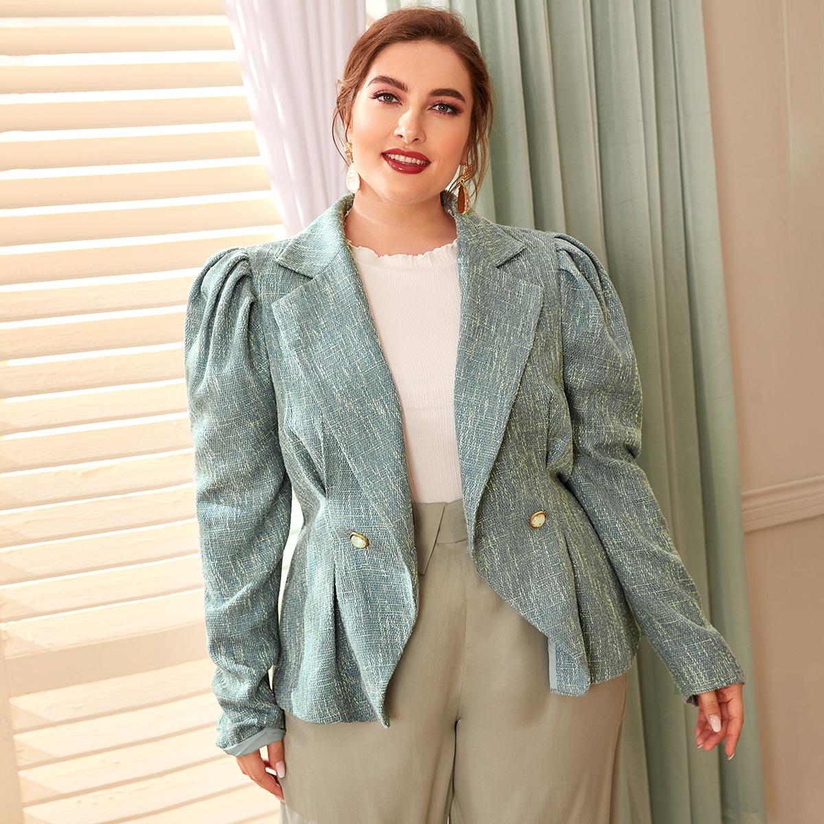 Твидовый пиджак с оригинальным рукавом размера плюс