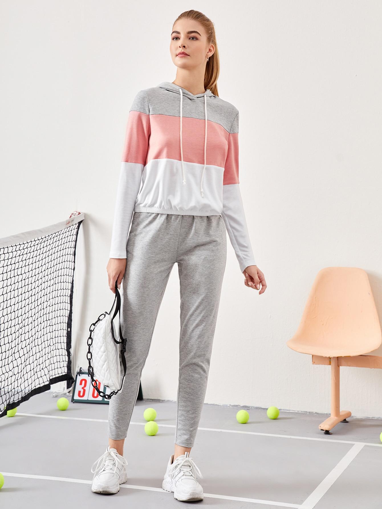 Colorblock Drawstring Hooded Top & Pants Set thumbnail