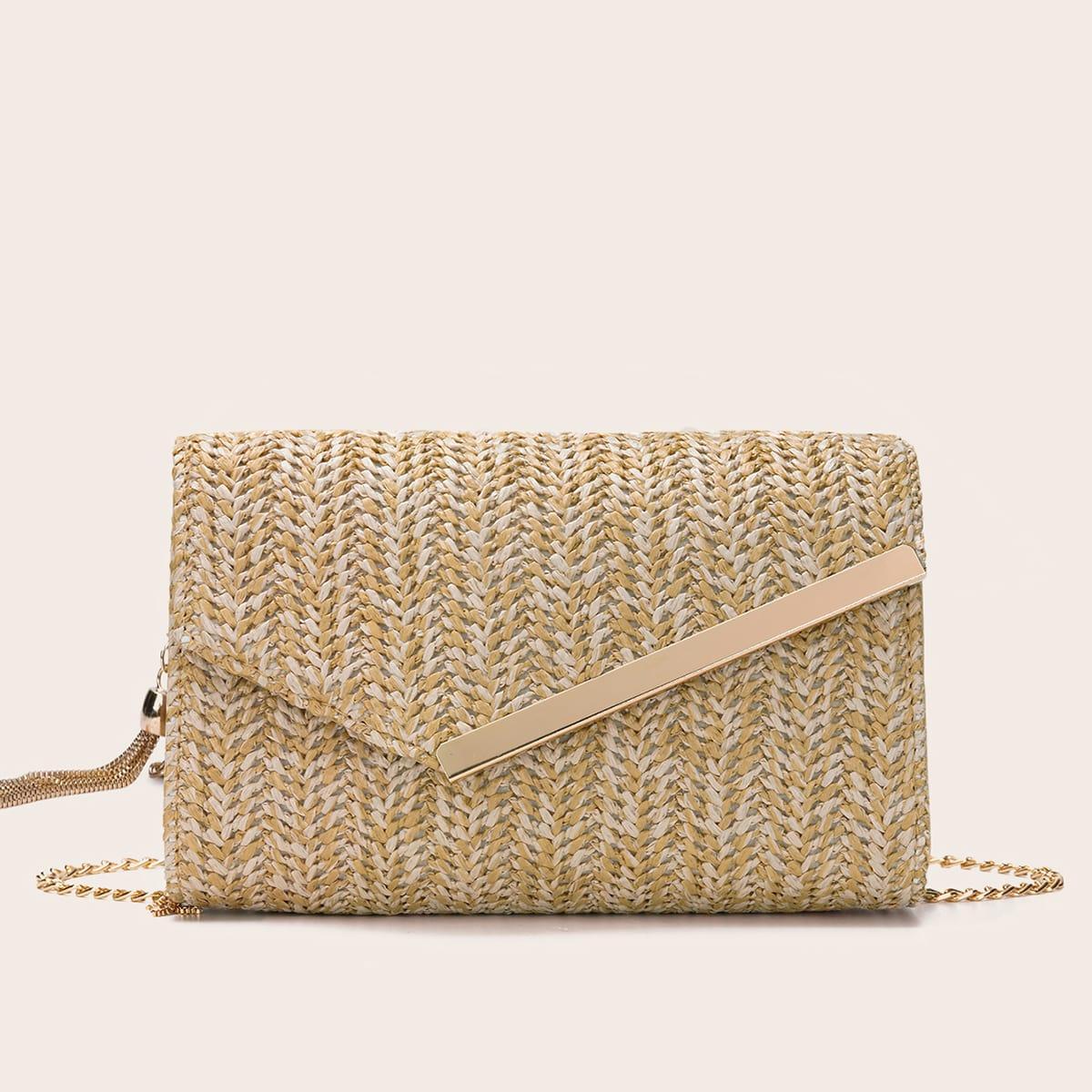Плетеная сумка через плечо с бахромой