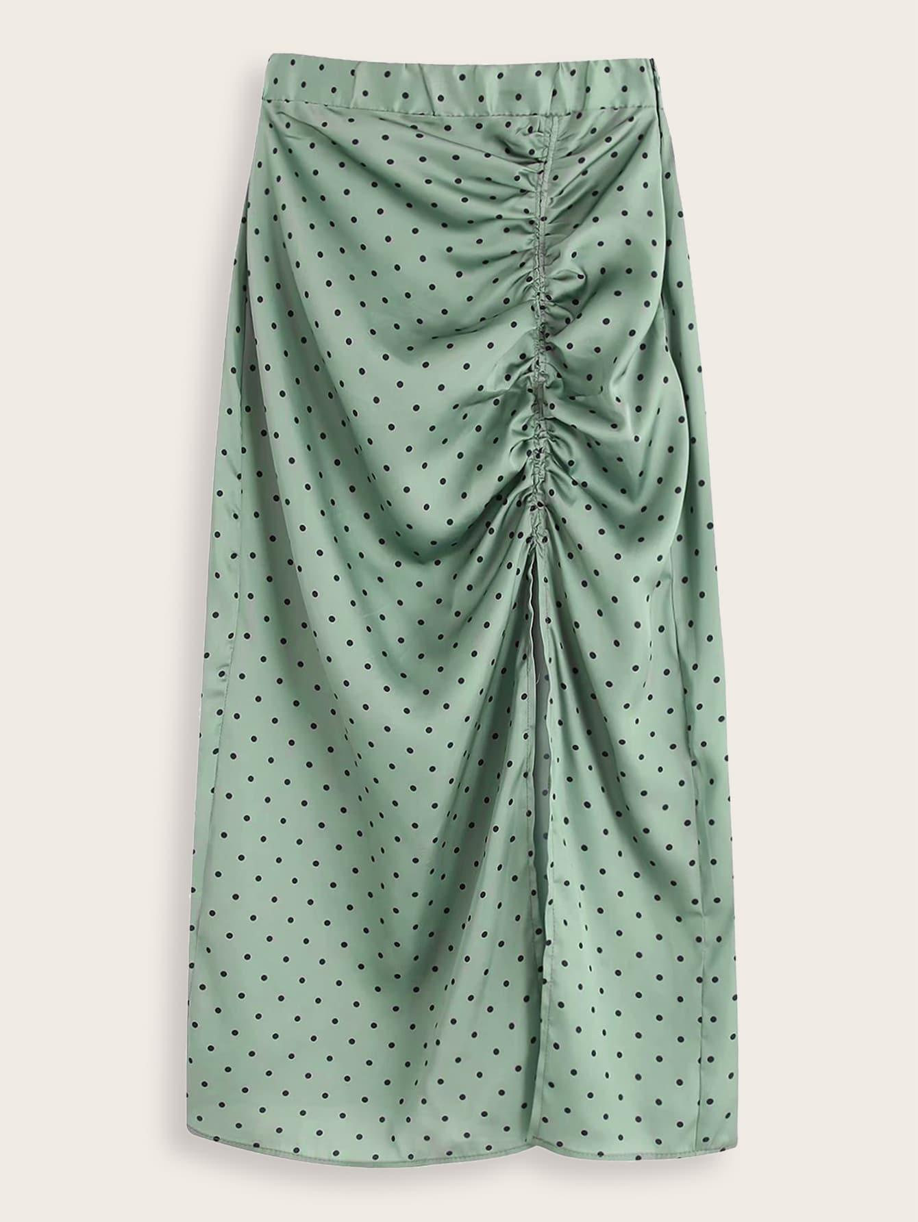 Plus Polka Dot Ruched Split Thigh Skirt thumbnail