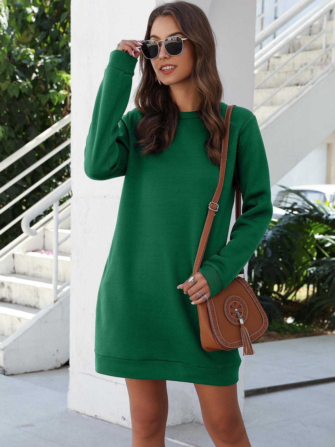 Solid Round Neck Sweatshirt Dress thumbnail