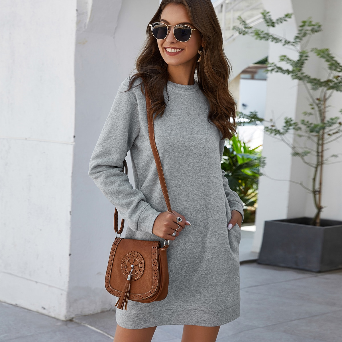 SHEIN / Heather Knit Mini Sweatshirt Dress