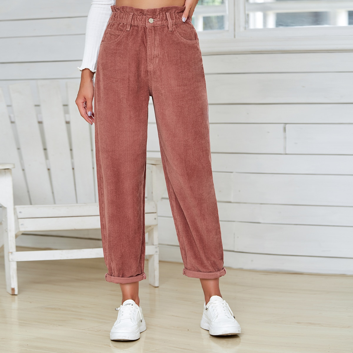 Paperbag Waist Corduroy Pants, SHEIN  - buy with discount