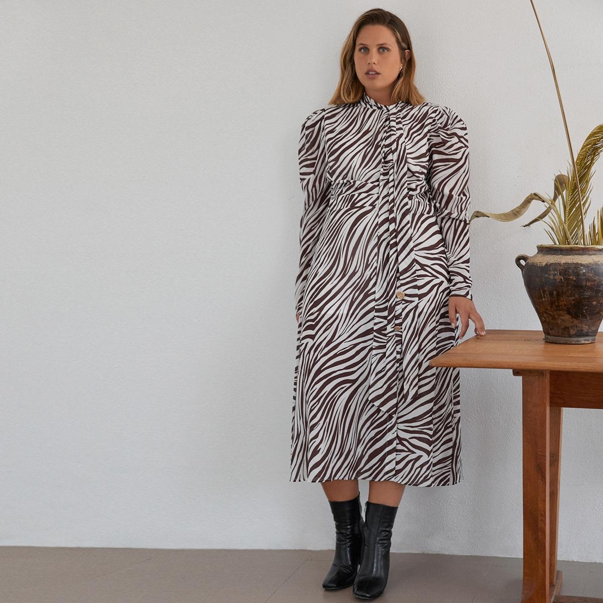 Платье в полоску зебры размера плюс