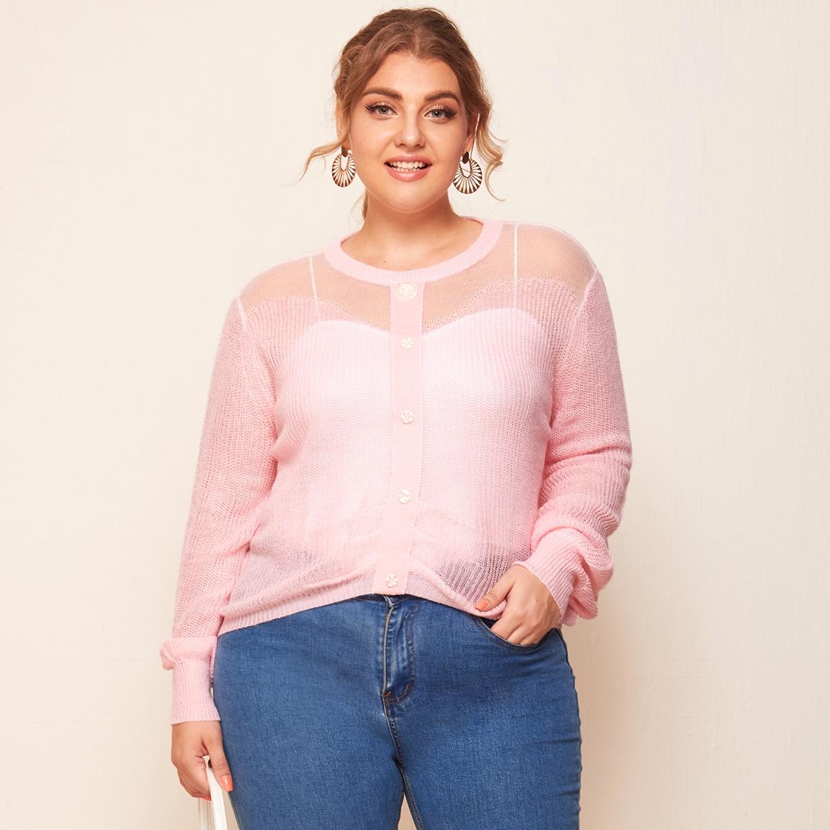 Прозрачный свитер размера плюс с пуговицами без майки
