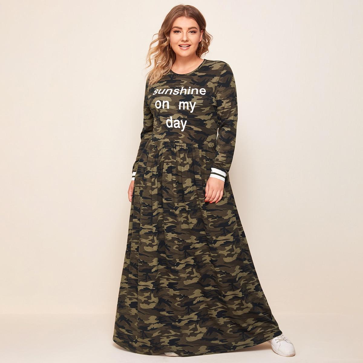 Платье макси размера плюс с камуфляжным принтом и текстовым принтом