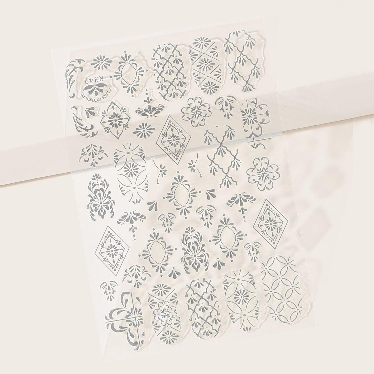 1sheet Damask Pattern Nail Sticker