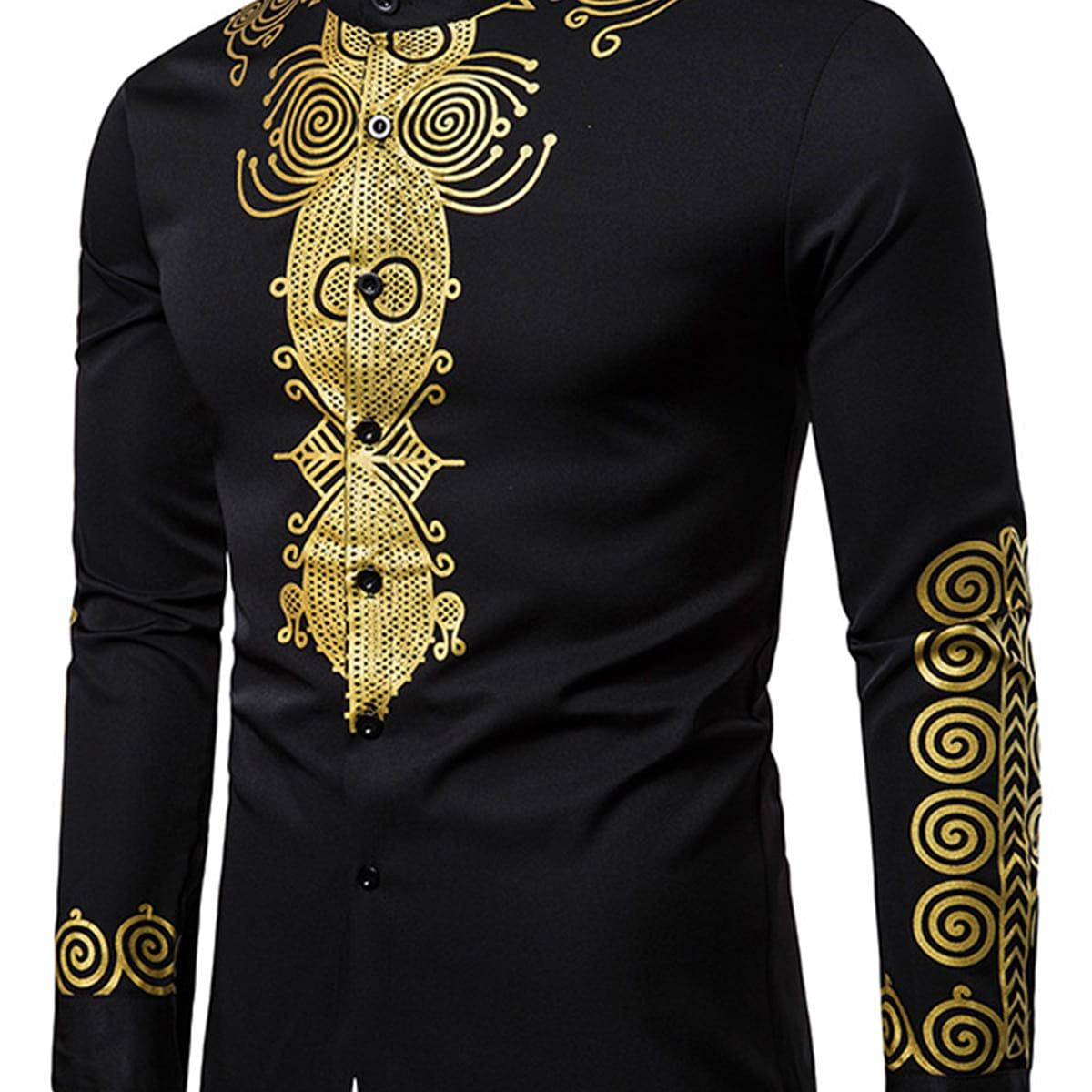 Мужская рубашка с пуговицами и принтом барокко
