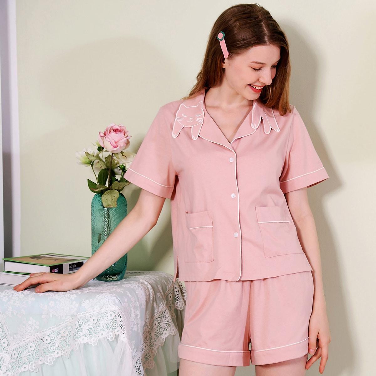 Pjm пижама с пуговицами и мультипликационным принтом