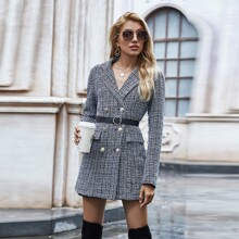 Belted Tweed Double-Breasted Blazer