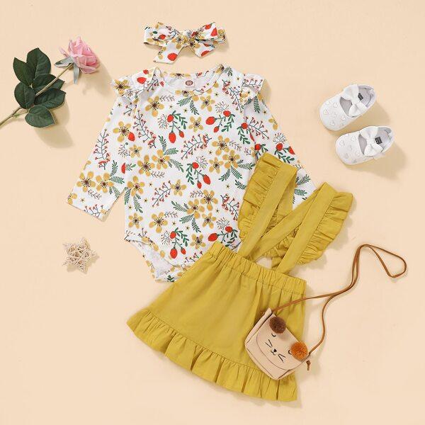 Baby Girl Floral Print Ruffle Trim Bodysuit & Suspender Dress & Headband, Multicolor