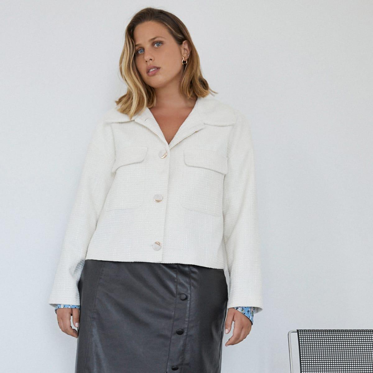 Твидовая куртка размера плюс с карманом