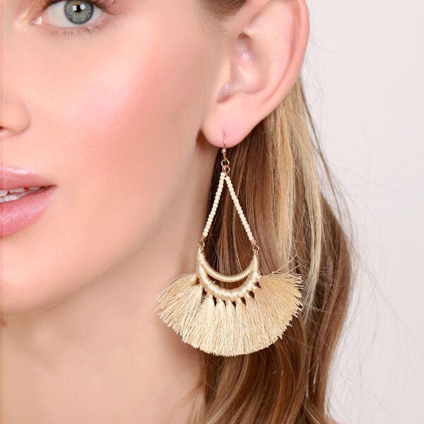 1pair Teardrop Outline Fringe Earrings, Beige