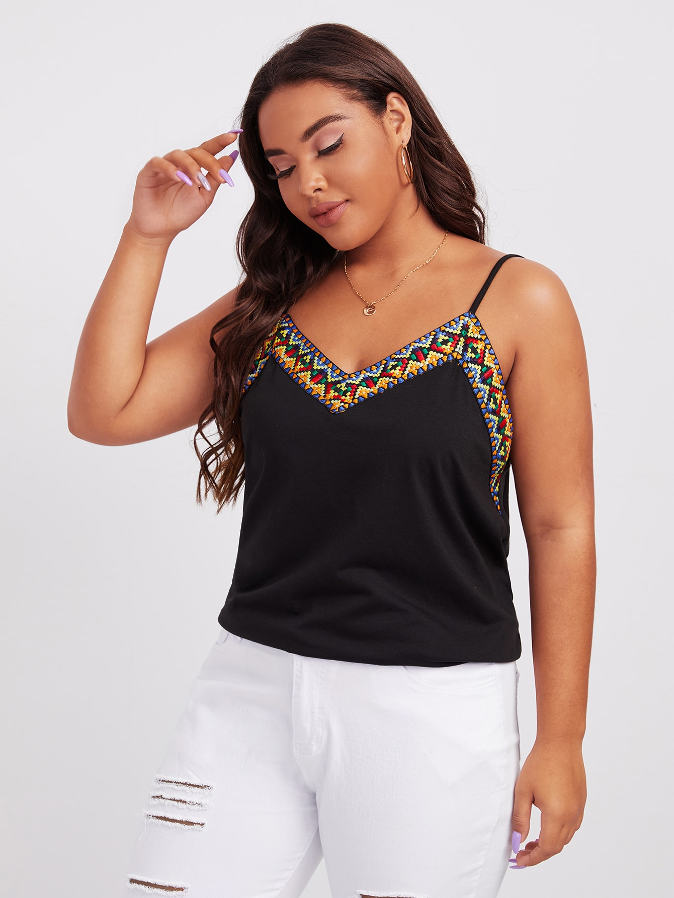 Plus Double V-Neck Embroidered Tape Cami Top thumbnail