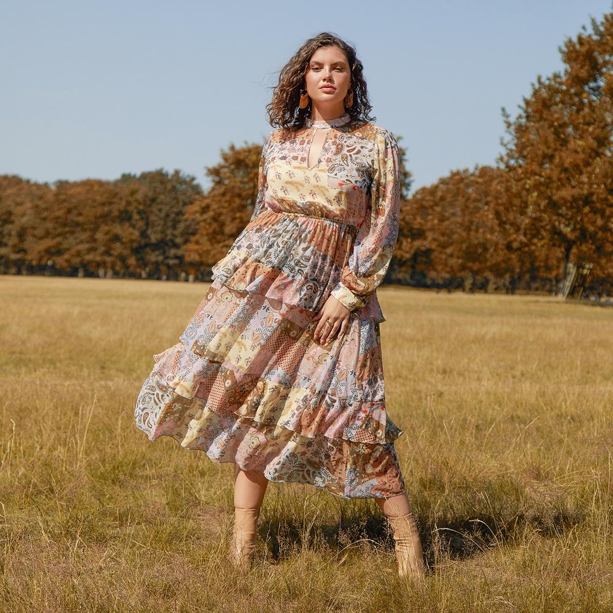 Платье размера плюс с рукавом фонариком и застежкой