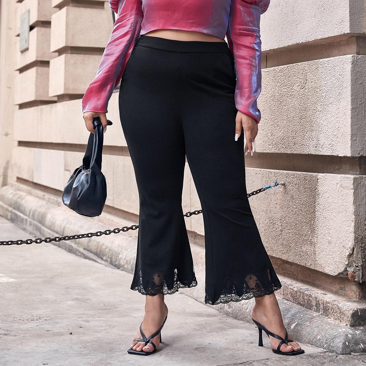 Расклешенные брюки размера плюс с кружевной отделкой