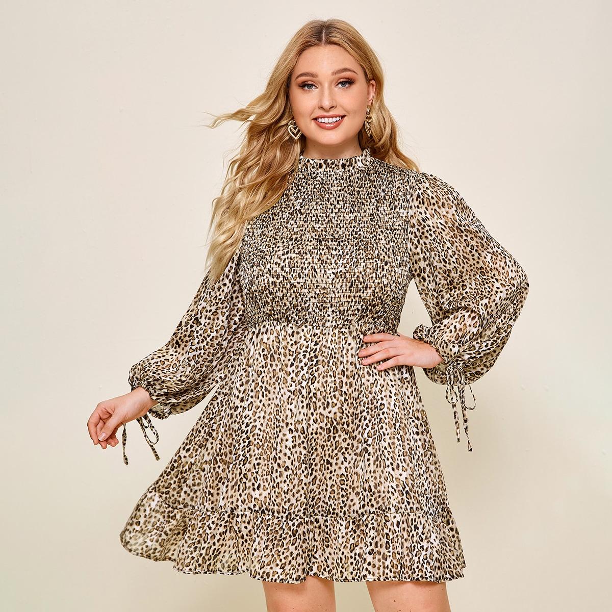 Платье размера плюс с леопардовым принтом на кулиске