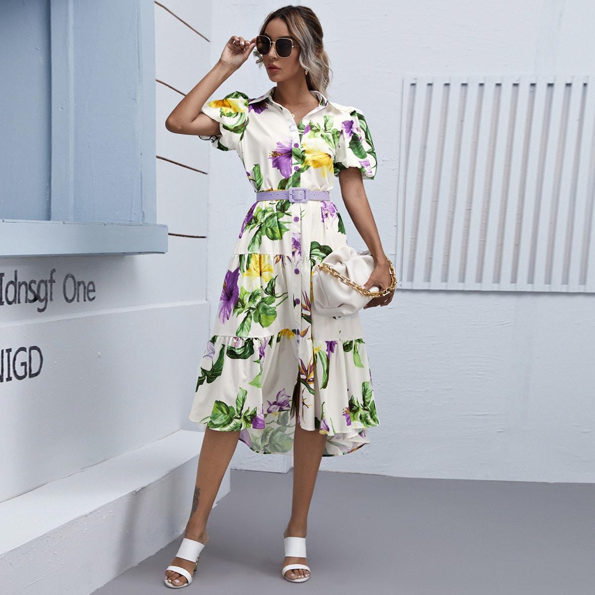 Платье-рубашка с поясом, пышным рукавом и цветочным принтом