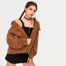 Drop Shoulder Button Front Cord Coat