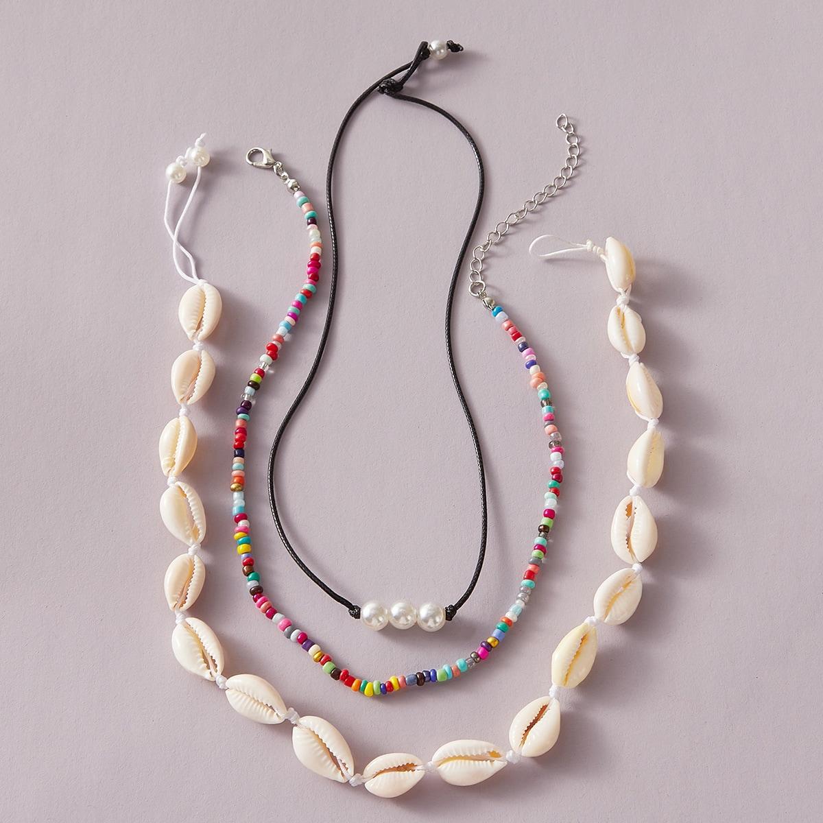 Ожерелье с бисерами и ракушкой 3шт по цене 160