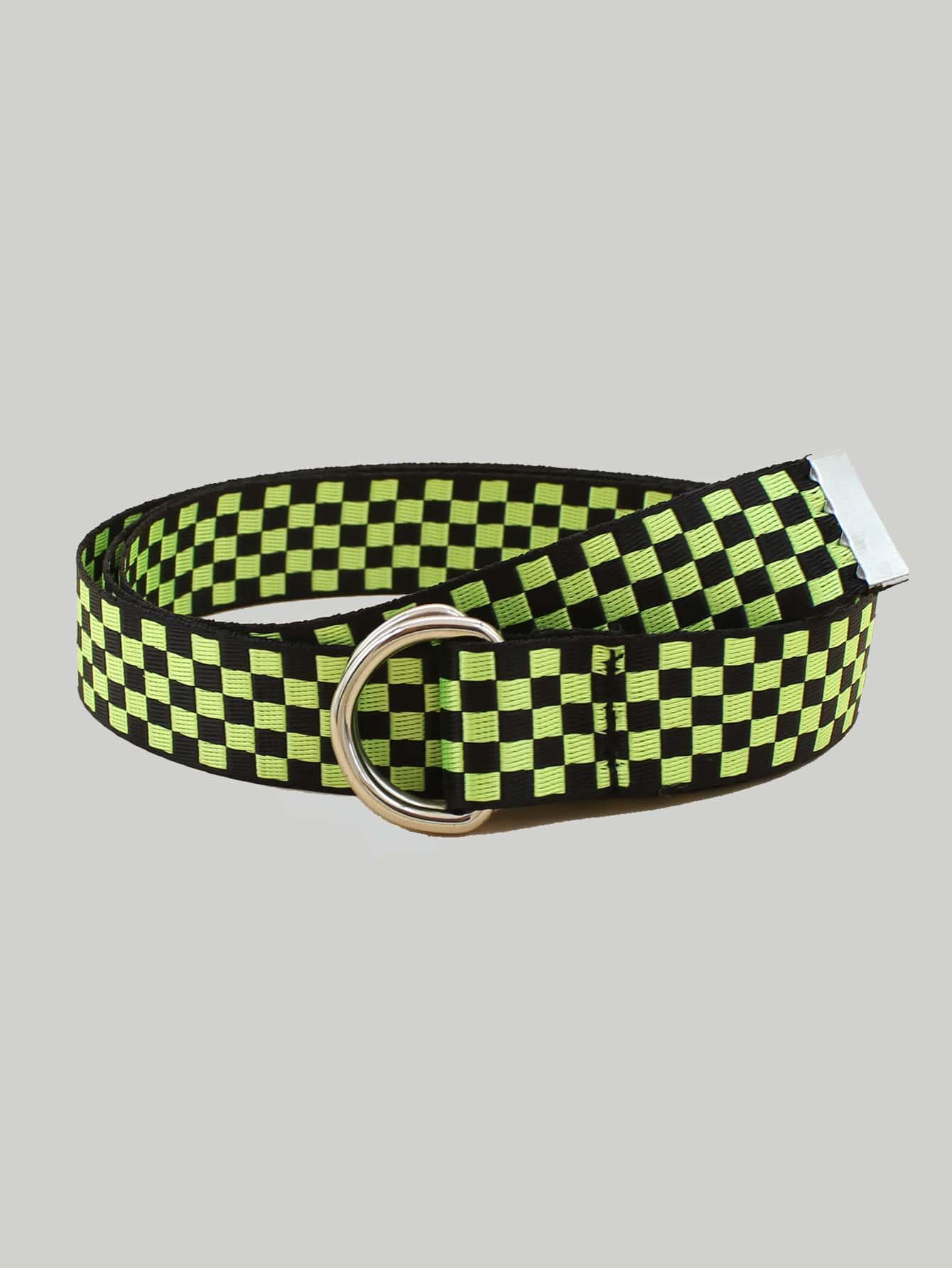 Two Tone Plaid Pattern Tape Belt thumbnail