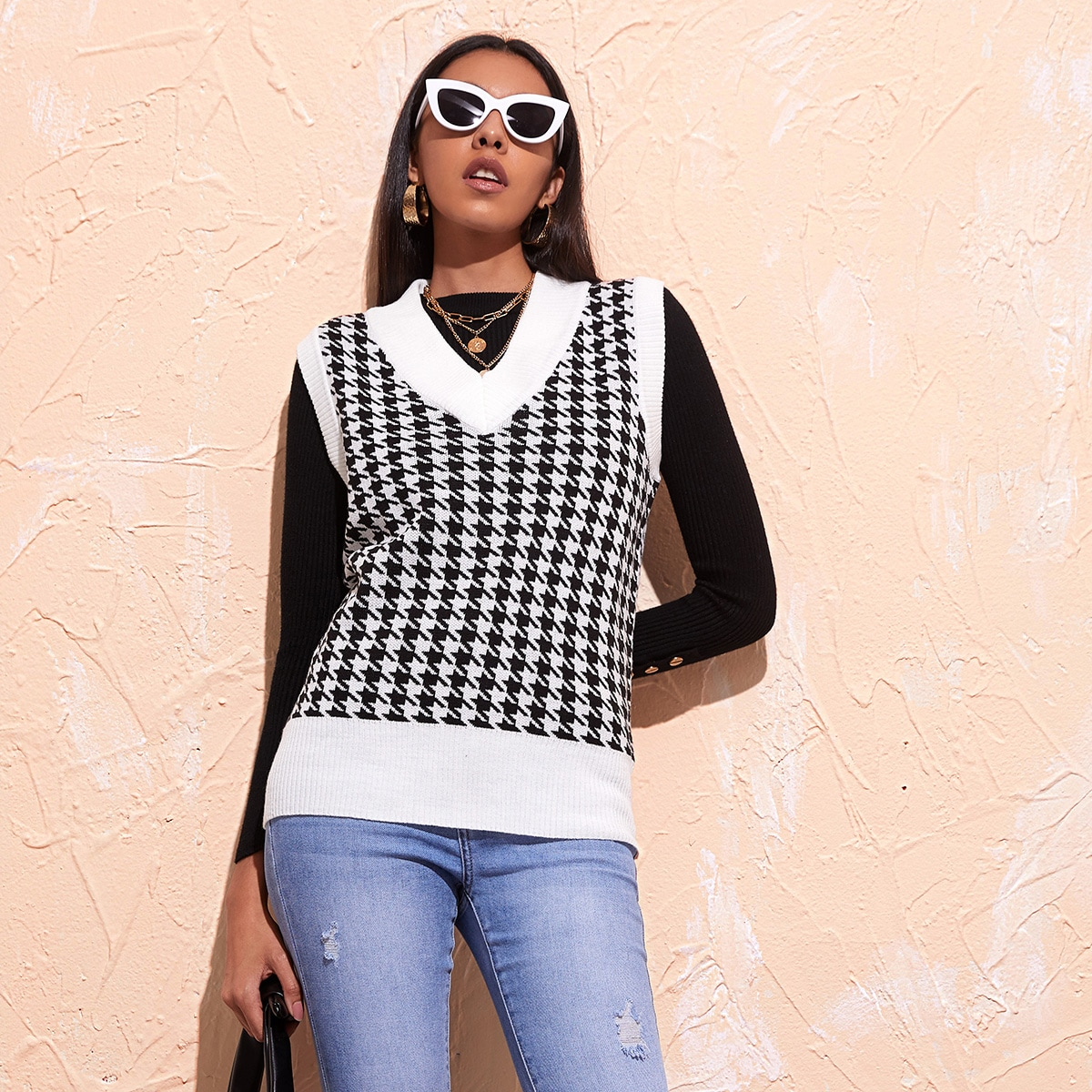 V Neck Houndstooth Sweater Vest, SHEIN  - buy with discount