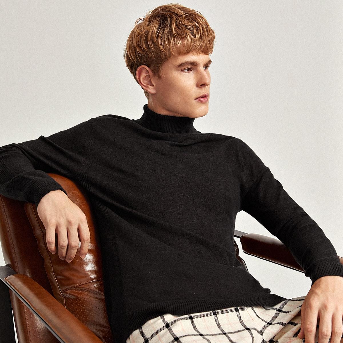 Мужской вязаный свитер с высоким воротником