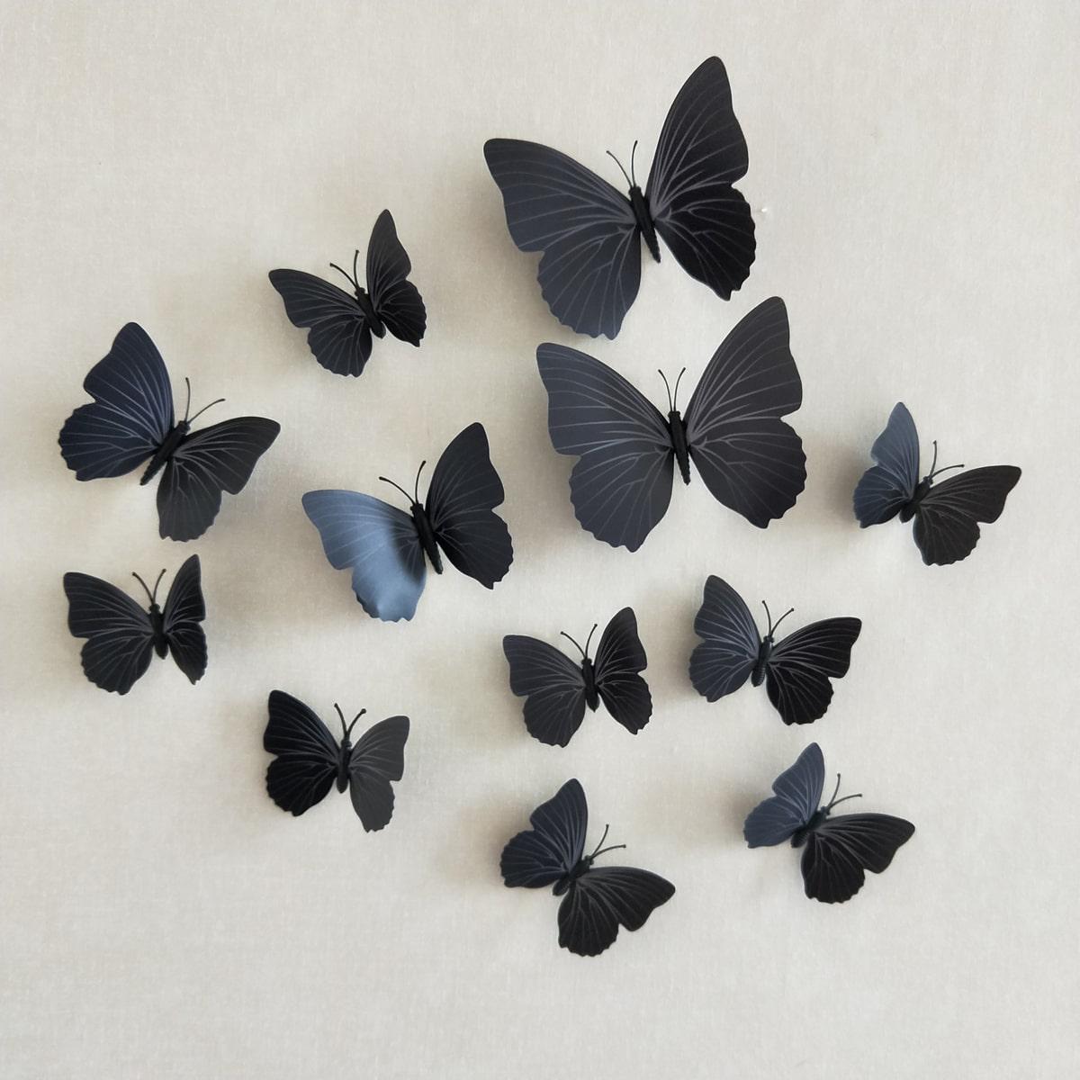Наклейка на стену с бабочкой 3D 12шт