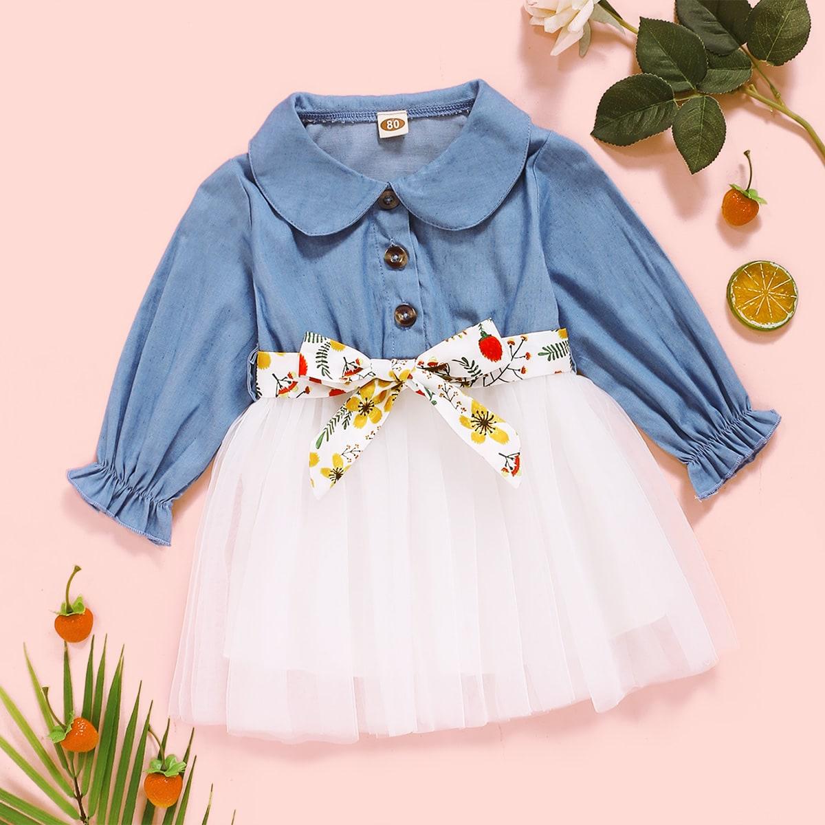 Сетчатое платье с поясом для девочек от SHEIN
