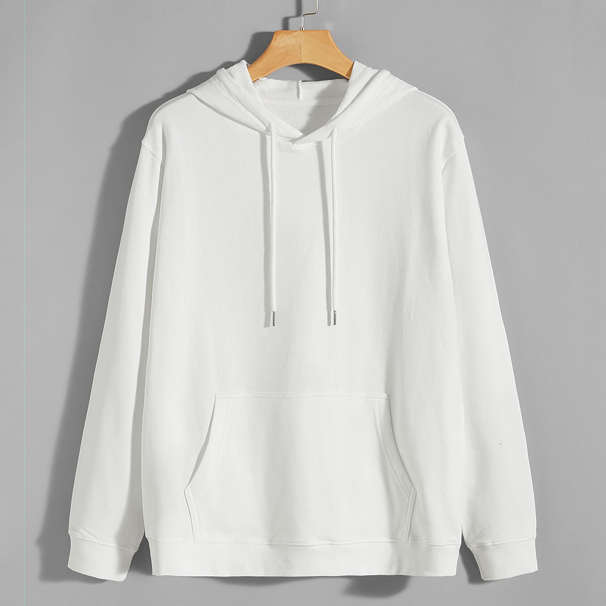 Men Solid Kangaroo Pocket Drawstring Hoodie, SHEIN  - buy with discount