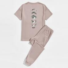 Guys Letter and Planet Graphic Tee & Drawstring Waist Sweatpants Set