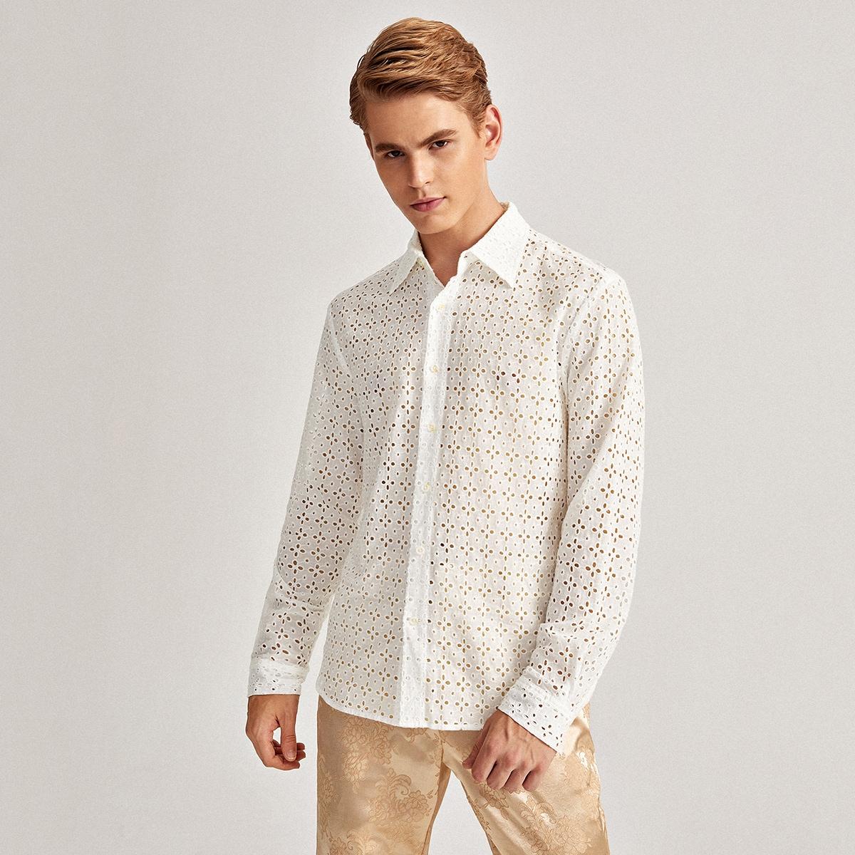 Однобортный одноцветный повседневный мужские рубашки