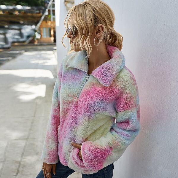 Zip Half Tie Dye Print Teddy Sweatshirt, Multicolor